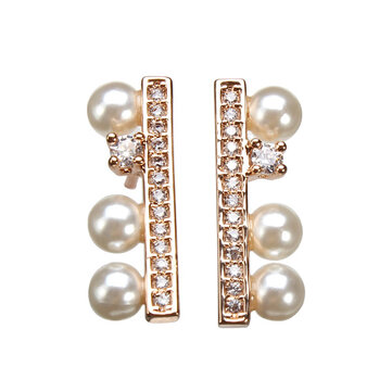 Simple Rhinestone Crystal Pearl Ear Stud Earrings Gold Silver Plated