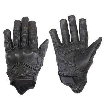 Touch Screen Motorcycle Leather Gloves Riding Racing Bike Protective Armor Black