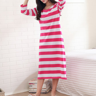 Cotton Stripe Homewear Nine Points Sleeve Split Leg Nightgown