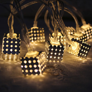 KCASA 2M 20 LED Metal Square String Lights LED Fairy Lights for Festival Christmas Halloween Party Wedding Decoration Battery Powered