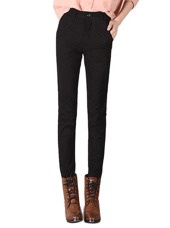 Women Pocket Skinny Straight Casual Trousers