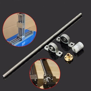 T8 300mm Stainless Steel Lead Screw Set with Shaft Coupling and Mounted Ball Bearing