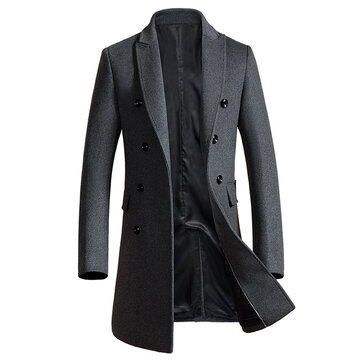 Mens Mid Long Slim Woolen Overcoat Thick Warm Double-breasted Stylish Trench Coat