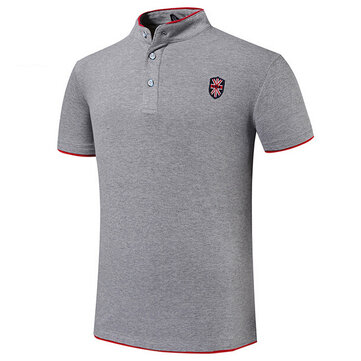 7 Colors Mens Embroidery Solid Color Stand Collar Button Summer Plus Size T-shirt Polo Shirt