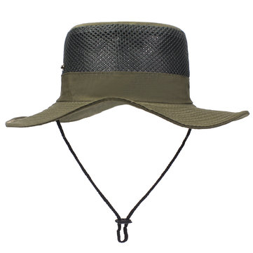 Mesh Bucket Hats Breathable Sun Fishing Hat Visor Cap