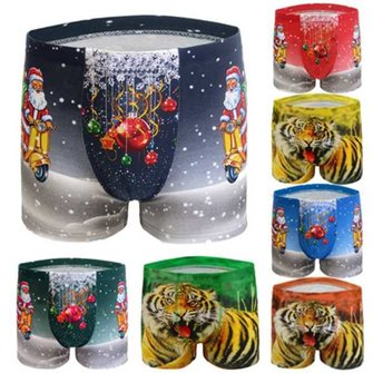 Christmas Santa Mens Cotton Briefs Classic Modal Print Pattern Boxers Shorts