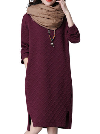 Casual Women Loose Long Sleeve Plaid O-neck Dress
