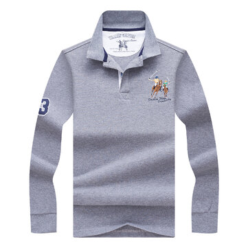 Spring Autumn Men's Fashion Embroidery LOGO Golf Shirt Casual Business Lapel Long Sleeve T-shirt