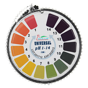 Universal PH Test Strips Roll Full Range 1-14 Indicator Paper Tester Dispenser w/ Color Chart