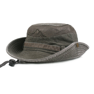 Mens Cotton Embroidery Bucket Hat Outdoor Fishing Hat Climbing Mesh Breathable Sunshade Cap
