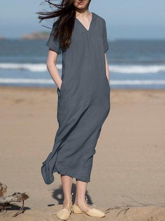 Women Short Sleeve V Neck Solid Split Hem Dress