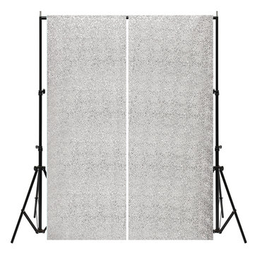 2 Panels 2FTX7FT Silver Shimmer Sequins Fabric Wedding Photography Backdrop
