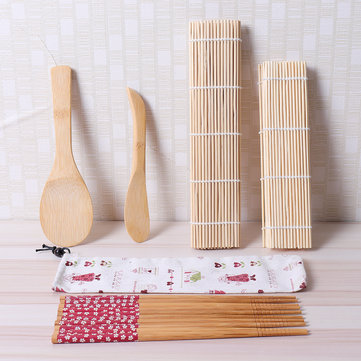9Pcs/set Bamboo Rolling Mats Sushi Making Tools Chopsticks Rice Spreader Family Party Sushi Gadget