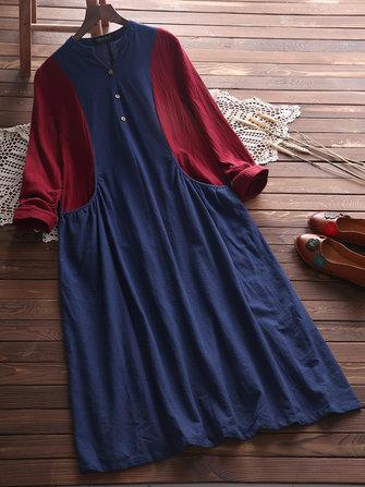 O-NEWE Vintage Women Color Splicing Pocket Dress