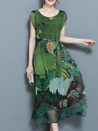 Elegant Women Floral Printed Short Sleeve Mid-long Dresses with Belt