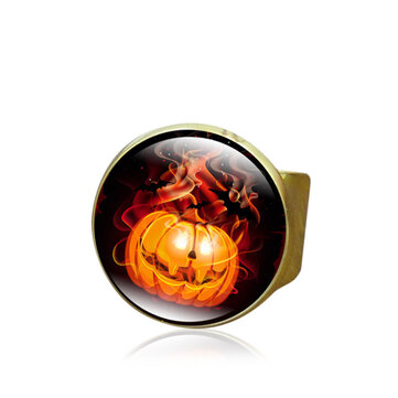 Wholesale Halloween Party Ring Pumpkin Adjustable Gem Glass Finger Ring Cute Gift