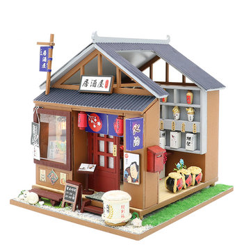 Hoomeda M037 DIY Doll House One Of The IZAKAYA With Cover Music Movement Gift Decor Toys