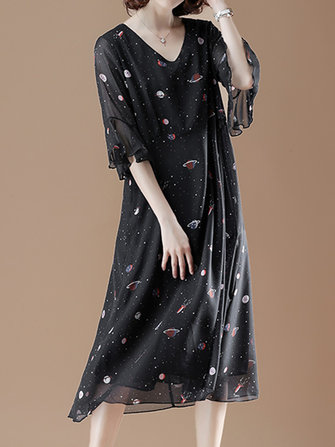 Cotton V-neck Flared Sleeve Star Dress