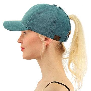 Män Kvinnor Sommar Tvättade Denim Baseball Cap Justerbar Solskyddsmedel Hatt