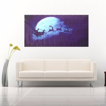 Christmas Eve Moon Sled Frameless Canvas Painting Living Room Bedroom Wall Painting Home Decor
