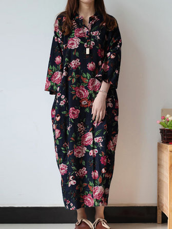 Retro Women Floral Printed 3/4 Sleeve Loose Maxi Dresses