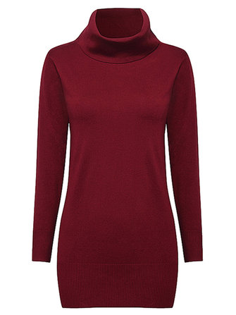 Casual Women Long Sleeve High Collar Pure Color Knitted Sweater