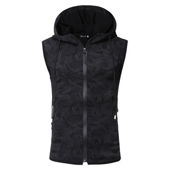 Mens Fashion Polyester Hoodies Zipper Sleeveless Vest