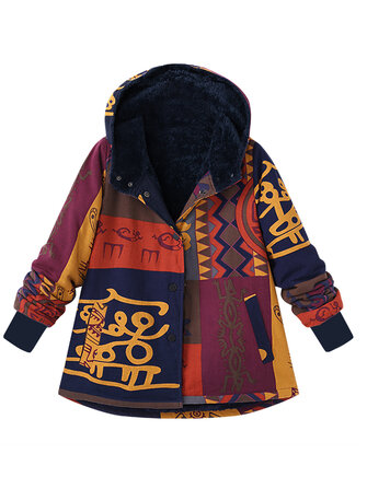 Plus Size Women Vantage Printed Hooded Pocket Coats Thick Warm Jackets