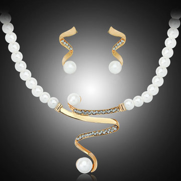 Elegant Pearl Rhinestone Jewelry Set 1 Pair Earrings 1 Pcs Necklace Women Jewelry Set
