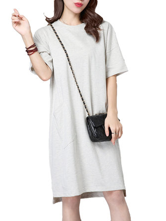 Women Pure color Pocket Short Sleeve O-neck Split Dress