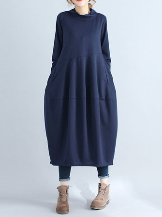 Casual Solid Long Sleeve Turtleneck Mid-long Women Dresses