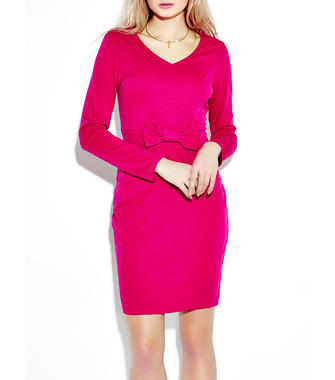 Elegant Bow Long Sleeve V-Neck Pencil Dress For Women