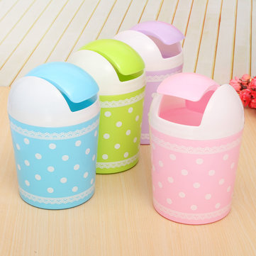 Colorful Paper Rubbish Waste Bin Mini Trash Basket Garbage Can With Lid Office Home Sundries Supplie