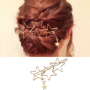 Trendy Hair Accessories Hollow Five Point Stars Alloy Hairpin Hair Clip Star Pendant for Women