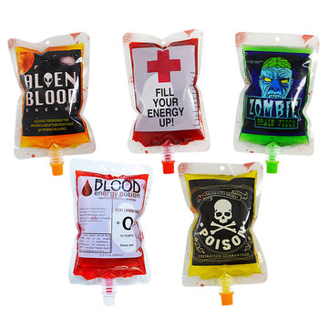 1PCS Reusable Blood Energy Drink Bag Halloween Pouch Props Vampire Cosplay 250ml Decoration Toys