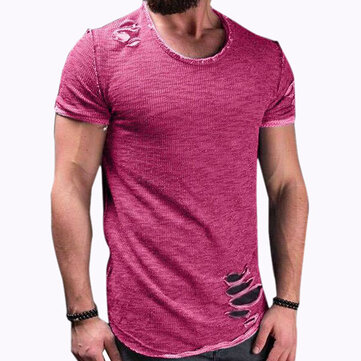 Mens Fashion Short Sleeve Crew Neck Slim S-4XL Comfy Pure Color Tops Causal T-shirts