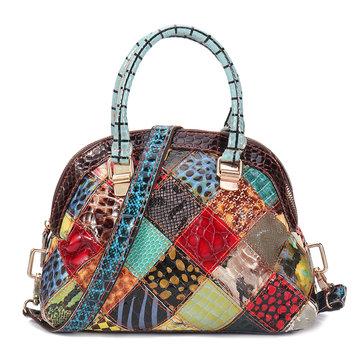 Women Genuine Leather Bohemian Floral Handbag