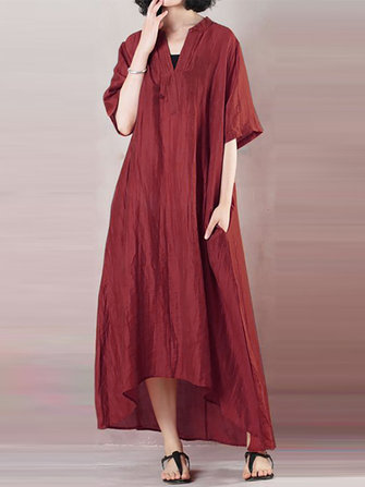 Women Cotton Asymmetrical Hem Side Pockets Dress
