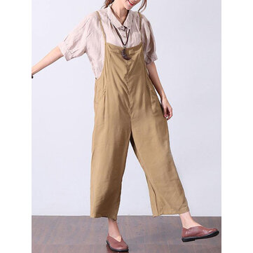 Women Jumpsuit Adjustable Straps Harem Trousers Long Trouser Romper