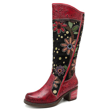 SOCOFY Embroidery Leather Mid Calf Boots