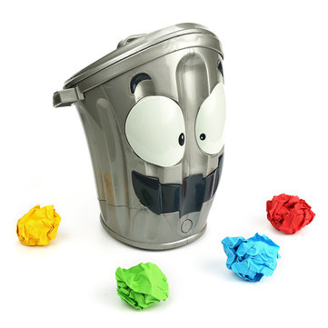 Electronic Toy Try Throwing Paper Balls Into The Moving Trash Bin Funny Game