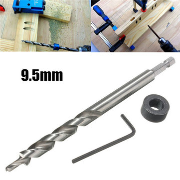 9.5mm Twist Step Drill Bit With Depth Stop Collar for Kreg Pocket Hole Jig Kit