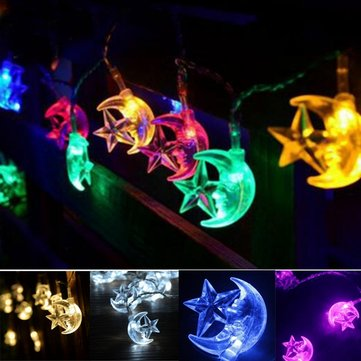 Battery Operated 2.2M 20LEDs Moon Star Fairy String Light for Party Patio Christmas DC4.5V