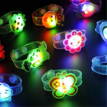1pc 3pcs 5pcs 10pcs LED Colorful Cartoon Wristband Bracelet Flashing Kid Toy Handband