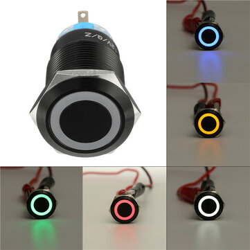 12V 19mm Self-locking Push Button Switch Ring LED Flat Head 5 Pins Waterproof Switch