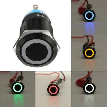 12V19mmKendindenkilitliİtmeliDüğme Anahtarı Halkası LED Düz Baş 5 Pins Su Geçirmez Anahtar