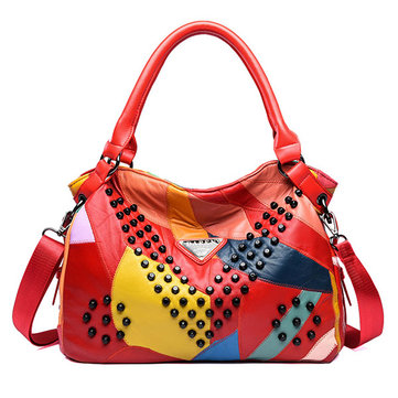 Women Genuine Leather Rivet Fashion Patchwork Handbag Crossbody Bag