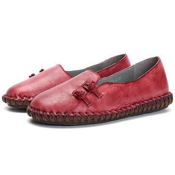 SOCOFY Retro Soft Flat Leather Shoes