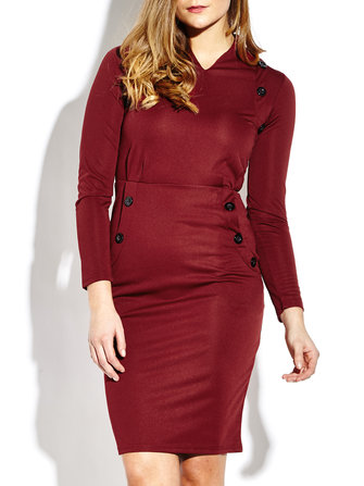 Women Work Button Long Sleeve Pencil Dress
