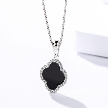 925 Sterling Silver Four-Leaf Clover Necklace Elegant Agate Pendant Necklaces Gift for Girls